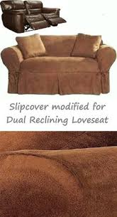 Slipcover For Dual Reclining Sofa Dual Reclining Sofa Slipcover Farmhouse Twill Taupe Adapted For