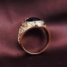 aliexpress buy mens rings black precious stones real omeng new mens rings black precious stones gold ring for men retro