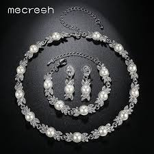 engagement jewelry sets mecresh simulated pearl bridal jewelry sets silver color wedding