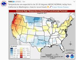 National Temperature Map Unseasonable Clipper Thursday Soaking Cool Bias Into Mid August