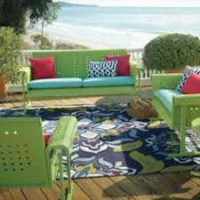 Grandin Road Outdoor Furniture by This Spacious Brown Wicker Patio Furniture Boasts Colorful Lime