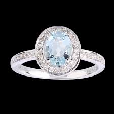 aquamarine and diamond ring oval aquamarine and diamond ring in 9 carat white gold gifts