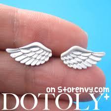 feather stud earrings dotoly plus angel wings feather stud earrings in sterling silver