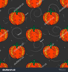 halloween black background pumpkin pumpkin doodle pattern vegetable black background stock vector