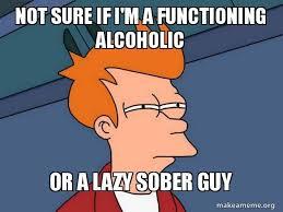 Meme Alcoholic Guy - not sure if i m a functioning alcoholic or a lazy sober guy