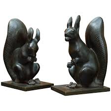 mid century modern bronze and suede chess set cubist art deco animated pair of austrian art deco bronze squirrel bookends circa 1925