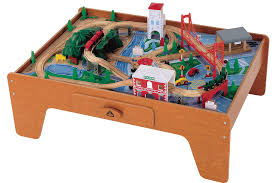 melissa and doug train table and set wood train set table image is loading hape railway play and stow
