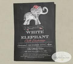 white elephant chalkboard invitation white elephant gift