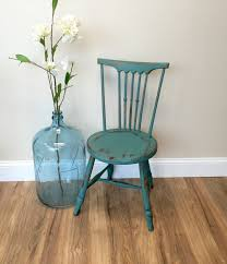 Wooden Accent Chair Teal Chair Primitive Furniture Small Accent Chair Antique