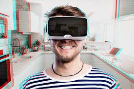 cuisine virtuelle lunettes de port de réalité virtuelle d homme cuisine à la maison