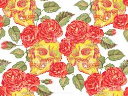 seamless pattern with skulls and roses floral summer