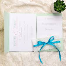 mint wedding invitations affordable mint green lace ribbon pocket floral wedding