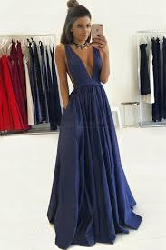 evening gown blue low v neck prom dresses party evening gowns 3020274