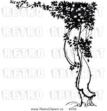 vector clipart of a retro black and white tree corner border by