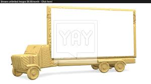 wooden truck toy wooden truck toy with blank billboard image yayimages com