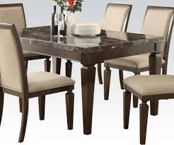 Acme Agatha Black Marble Top Rectangular Dining Table In Espresso - Espresso dining room set