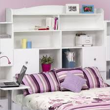 Teen Bookcase Bedroom Furnitures Bedroom White Bookcase And Storage Headboard