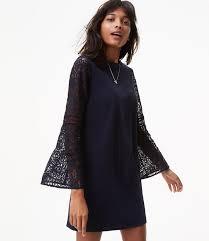 shift dress lace bell sleeve shift dress loft