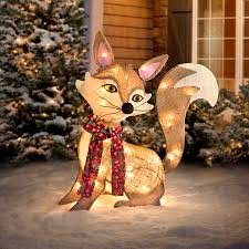 lighted dog christmas lawn ornament lighted fox outdoor christmas decoration improvements