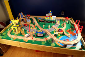 table top train set kidkraft waterfall mountain train table review unboxing and