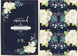 wedding card template blooming flowers decoration dark design