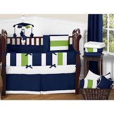 Blue Crib Bedding Set Sweet Jojo Designs Navy Blue Lime Green White Stripe 9