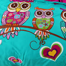 owls printed pink blue twin full queen king size bedding sets