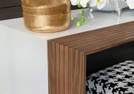 modern wood console table white and walnut console table ml bedivere hallway