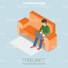 freelance work at home flat 3d web isometric infographic concept