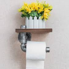 style iron pipe toilet paper holder roller wood shelf bathroom