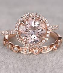 Rose Gold Wedding Rings by 2pcs Morganite Bridal Ring Set Engagement Ring Rose Gold Diamond