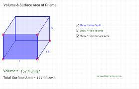 Volume Of Rectangular Prism Worksheet Prisms Volume And Surface Area Geogebra