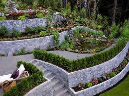 Elevated Front Yard Landscaping - multilevel landscape design
