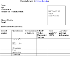 Resume Application Form Sample by Biodata Format Download For New Resume Sample Freshers Job