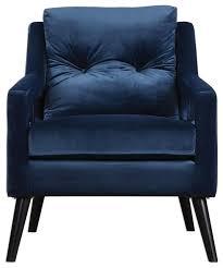 Blue Velvet Accent Chair Retro Blue Velvet Arm Chair Vintage Plush