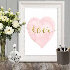 Heart Home Decor Heart Print Pink Nursery Heart Wall Art Pink Gold Heart Art