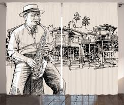 curtains 2 panels set music jazz saxophonist sketch home decor ebay