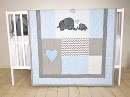elephant baby quilt blue gray crib bedding chevron elephant