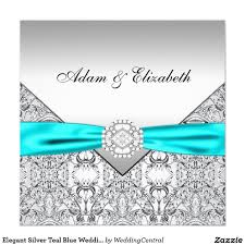 elegant silver teal blue wedding invitations wedding blues and