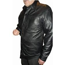 mens leather shirt black snakeskin python embossed casual ls nappa