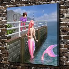 z104 mermaid children figures scenery hd canvas print