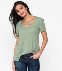 criss cross blouse sleeve ribbed criss cross swing top downeast