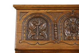 Secretary Style Desk by Sold English Tudor Carved Oak 1920 Antique Secretary Desk