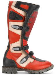 leather dirt bike boots balenciaga rider leather motocross boots in red modesens