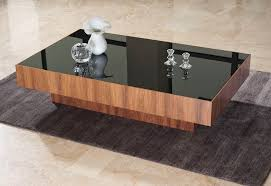 Black Glass Tables Furniture Contemporary Square Wood Coffee Tables With Black Glass