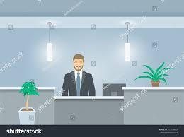 Registration Desk Design Young Man Receptionist Stands Reception Desk Stock Vector