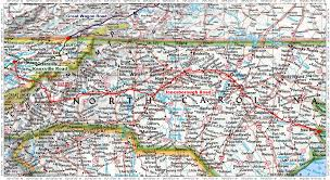 Virginia Map With Cities Historic Roads Paths Trails West Virginia Tennessee Kentucky