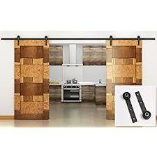 Barn Door Closet Hardware Amazon Com Yaheetech 12ft Black Antique Style Double Sliding Barn