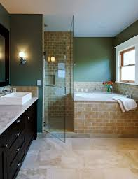 corner tub shower combo bathroom modern with basket bath faucet