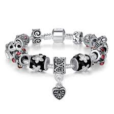 european silver charm bracelet images European popular 925 silver heart charm bracelet with glass beads jpg